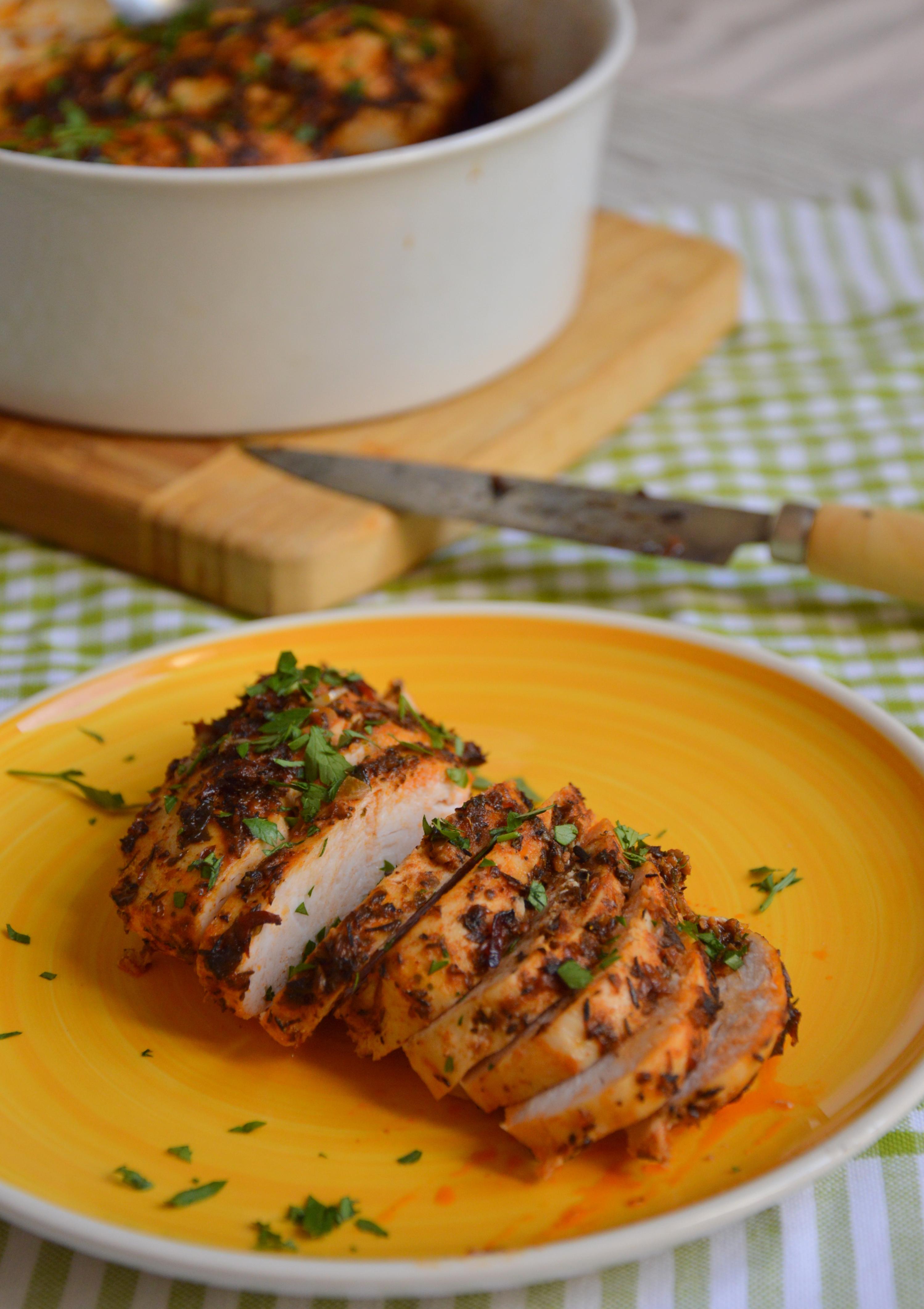 Pechugas de pollo asadas con chimichurri